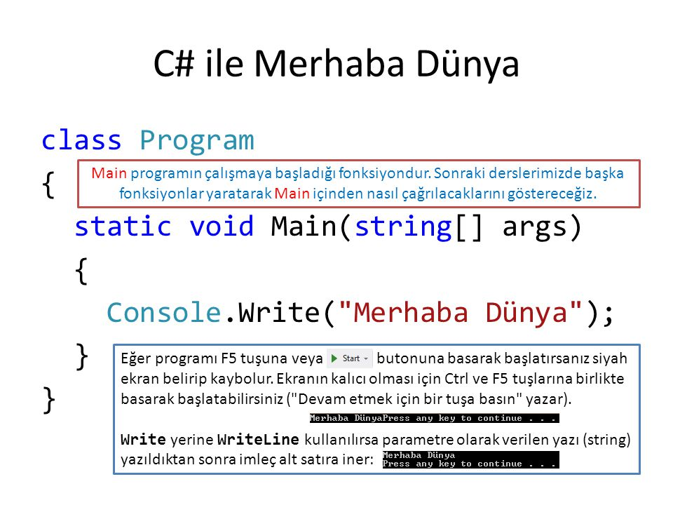 C# ile Merhaba Dünya class Program { static void Main(string[] args) Console.Write( Merhaba Dünya ); }